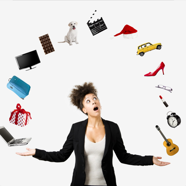 """""""Afro-American woman juggling objects"""" stock image"""