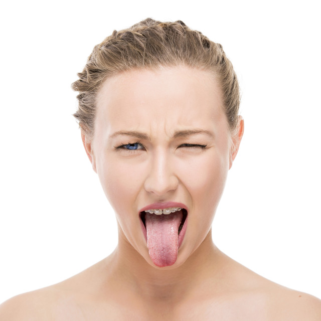"""""""Girl with tongue out"""" stock image"""