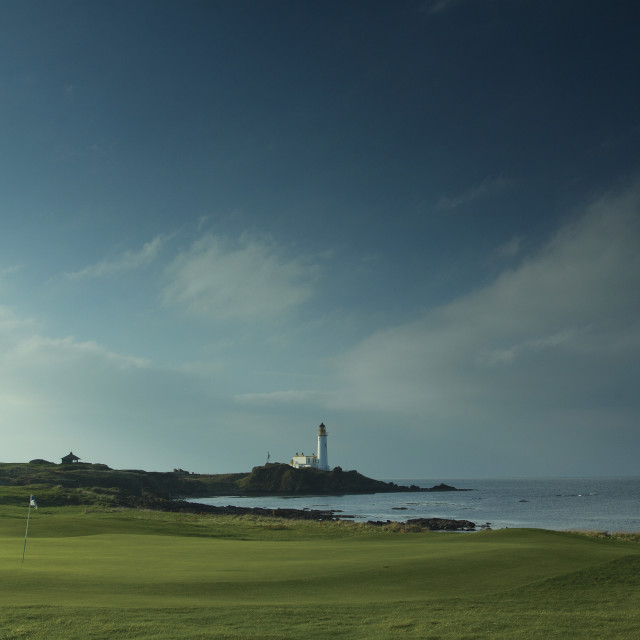 """""""Turnberry Lighthouse and Turnberry Golf Course"""" stock image"""