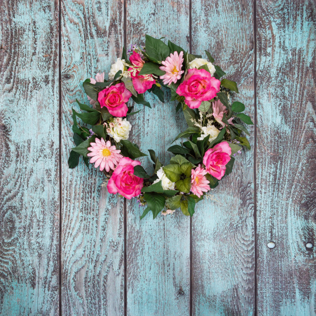 """Floral wreath on vintage green background"" stock image"
