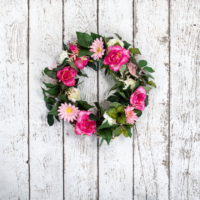 """Flower wreath on vintage white background"" stock image"