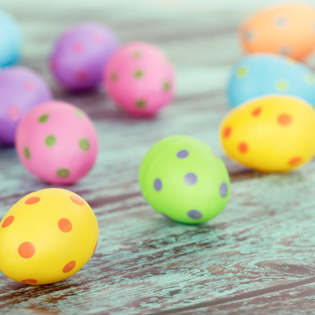 """""""Pastel Easter eggs on vintage green"""" stock image"""