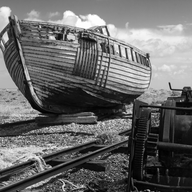 """Derelict fishing boat, Dungeness"" stock image"