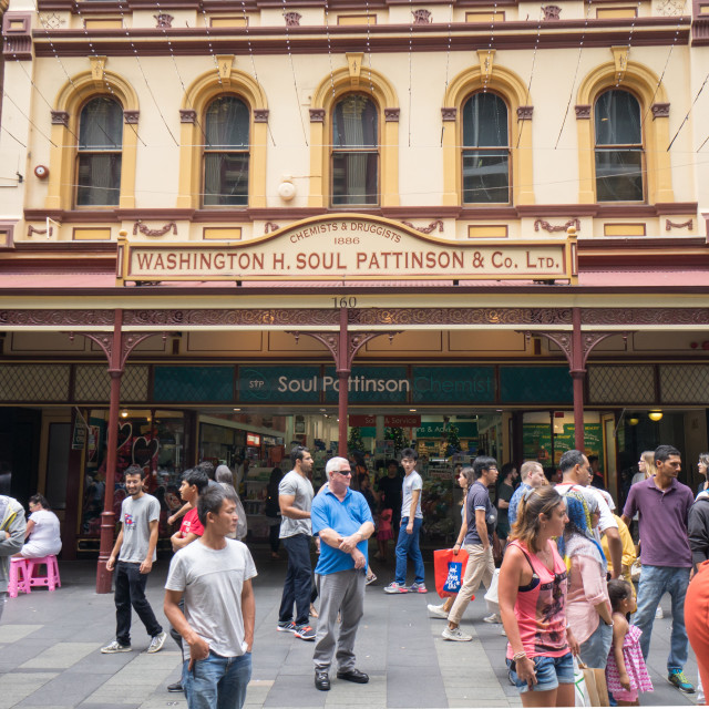 """""""Sydney, Crowd of people at Sydney CBD - December 26, 2015: Croud of people at the fa"""" stock image"""