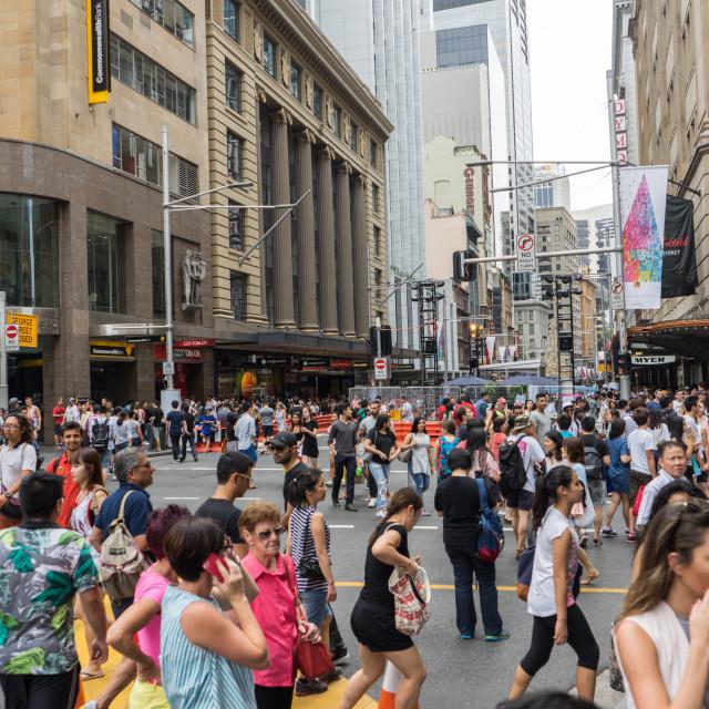 """Crowd of shopper at Sydney CBD"" stock image"