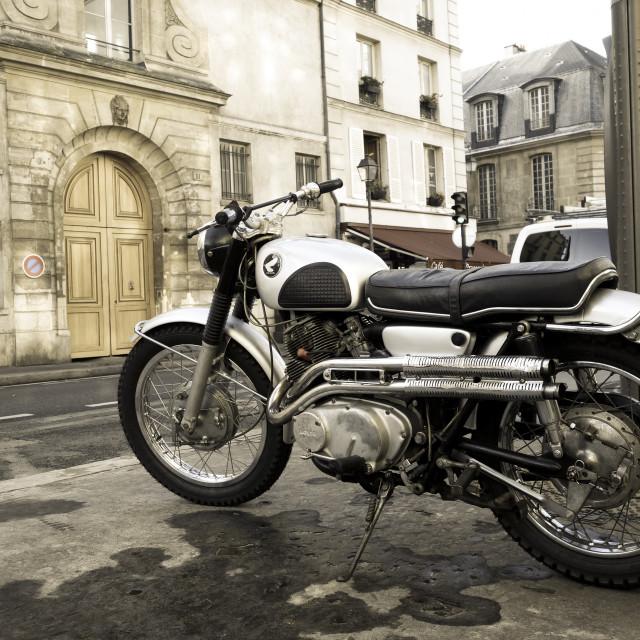 """Classic Honda CB black bomber"" stock image"