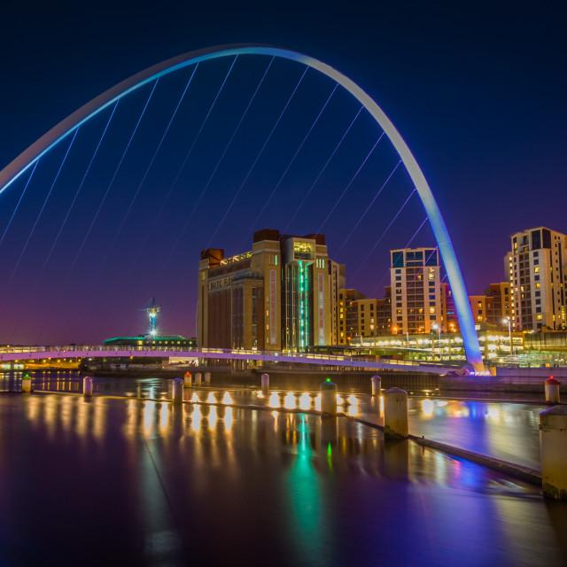 """""""The Gateshead Millennium Bridge."""" stock image"""