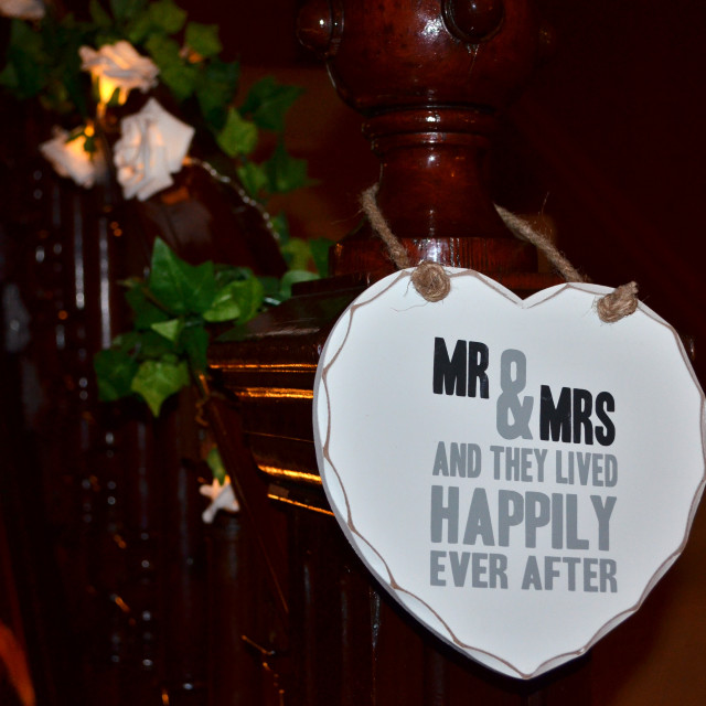"""Mr & Mrs Wedding Plaque 0454"" stock image"