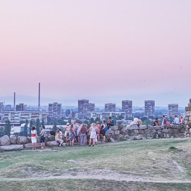 """""""Enjoying the cityscape"""" stock image"""