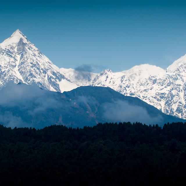 """""""Kangchenjunga Range, Sikkim, India"""" stock image"""