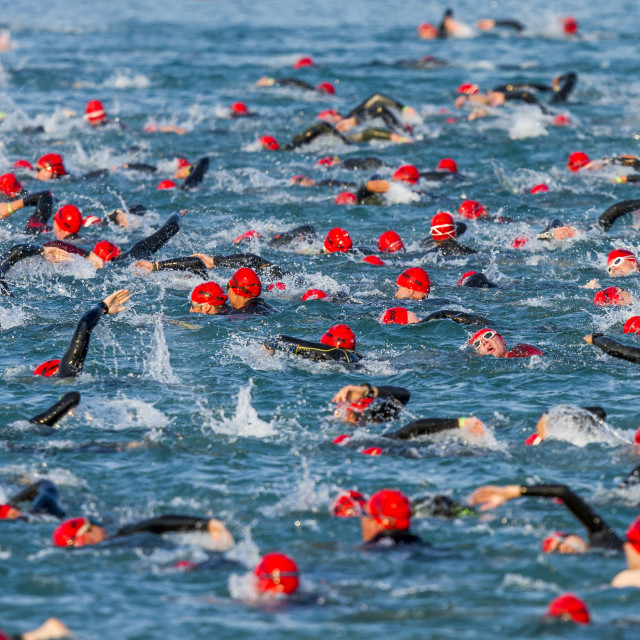 """Triathlon start in Frankfurt"" stock image"
