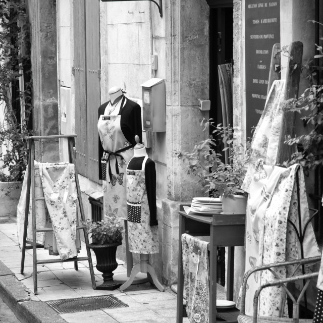 """""""Quaint French Shop - in monochrome."""" stock image"""