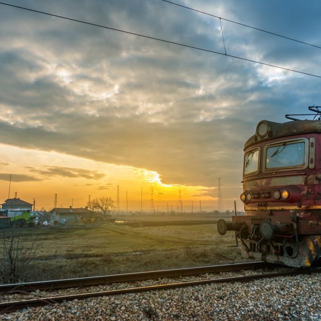 """""""train the beautiful sunset"""" stock image"""