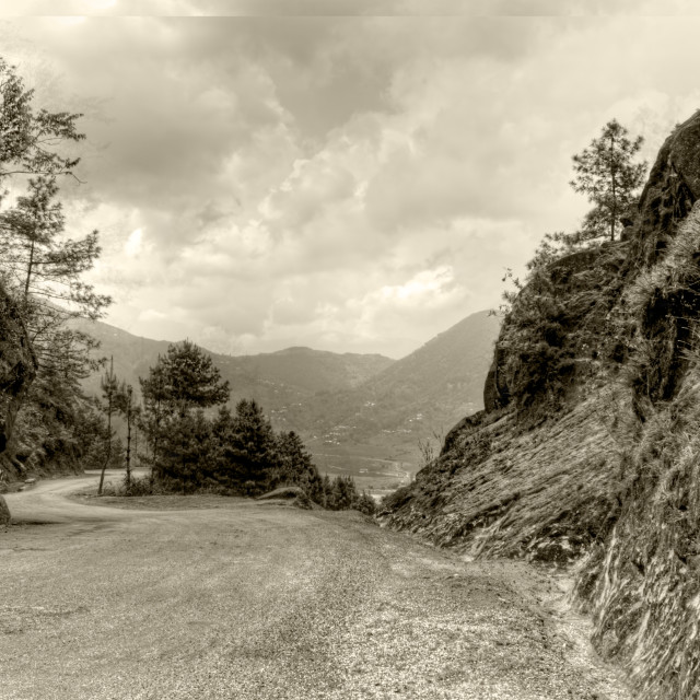 """Hill Road BW"" stock image"