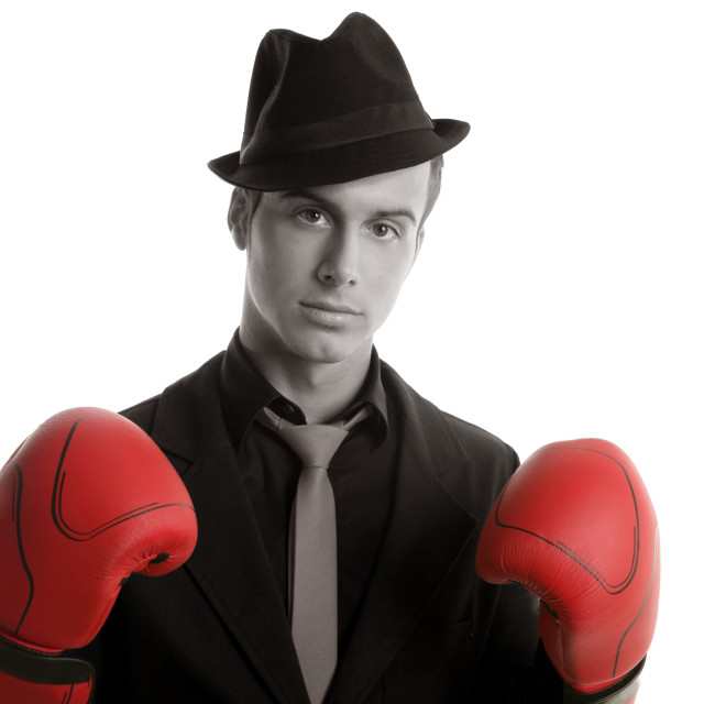 """Boxer young competitive businessman isolated"" stock image"