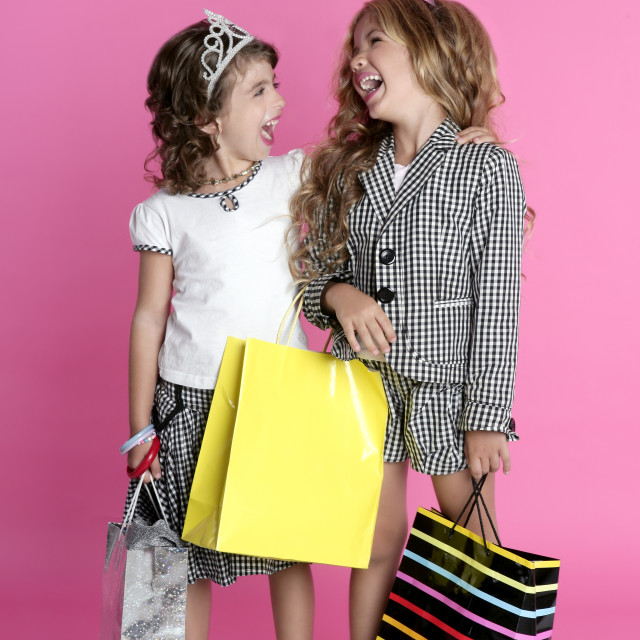 """Little shopper humor shopaholic girls"" stock image"