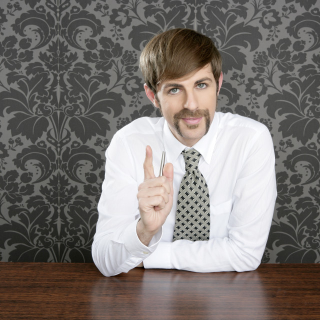 """""""businessman retro on office table salesperson"""" stock image"""