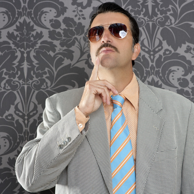 """""""nerd businessman pensive gesture silly funny retro"""" stock image"""