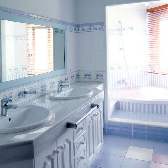 """classic blue bathroom interior tiles decoration"" stock image"