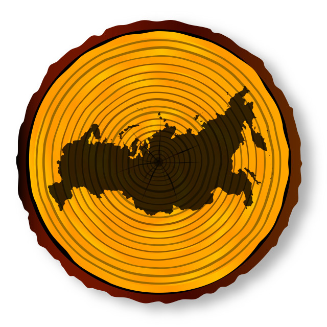 """Russian Map On Timber"" stock image"