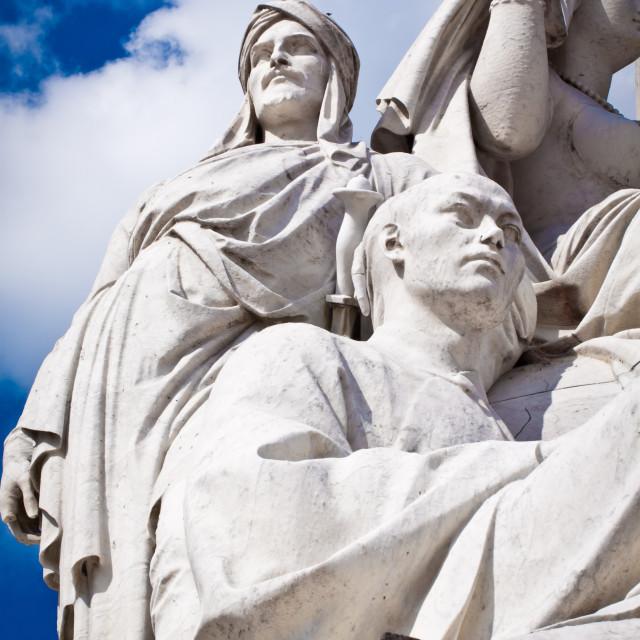 """""""Albert Memorial in Hyde Park, Kensington, London: detail of the statue group..."""" stock image"""