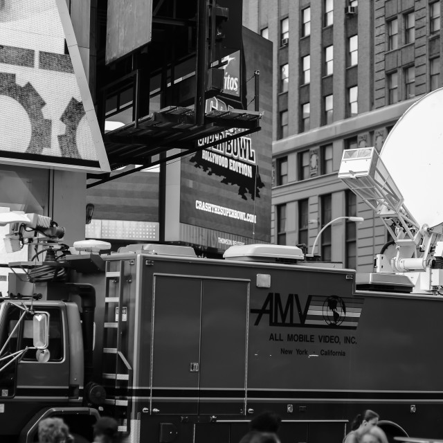"""""""NEW-YORK - SEPTEMBER 26: Mobile television station at area near Times Square..."""" stock image"""