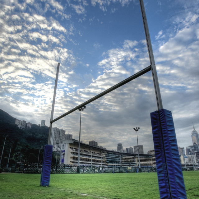 """rugby goalposts in HDR"" stock image"