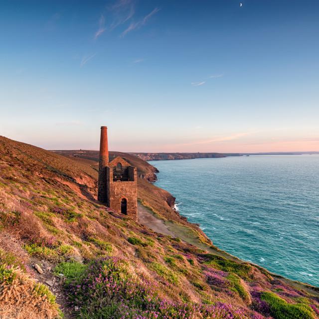 """Beautiful sunset over the Towanroath Engine House on the South West Coast..."" stock image"