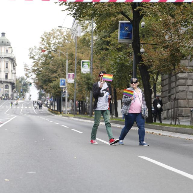 """People during Lgbt pride parade in Belgrade"" stock image"
