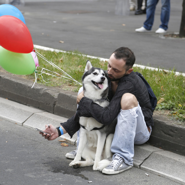 """""""Man with dog during Lgbt pride parade in Belgrade"""" stock image"""