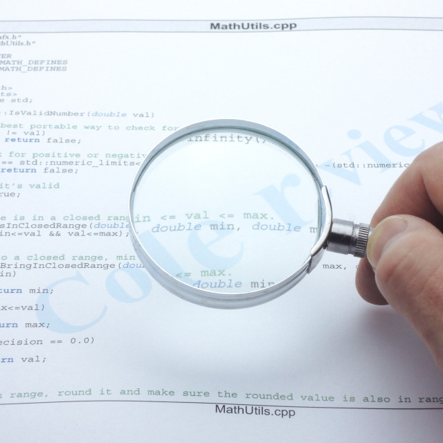 """Code review of computer source code"" stock image"