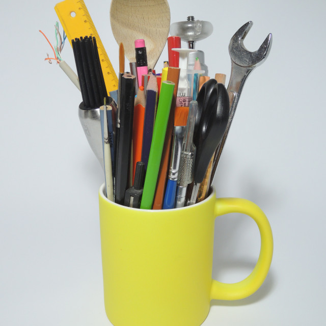 """""""Cup illustrating a multi-talent or innovative person"""" stock image"""
