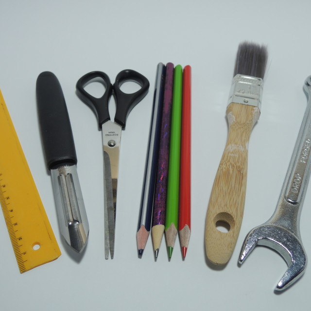 """""""Selection of tools for the multi-talented or innovative person spanning multiple disciplines (indicated by the broad range of tools)."""" stock image"""