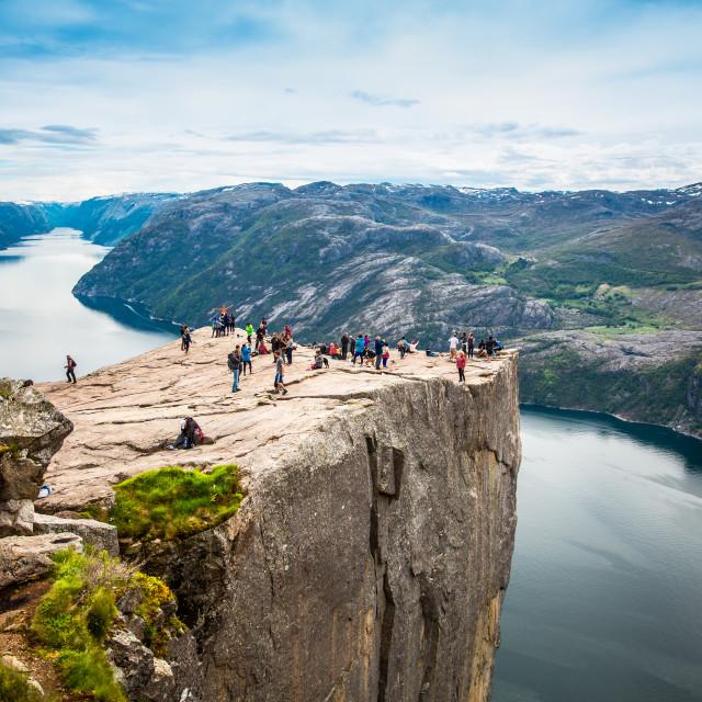 """NORWAY- June 22, 2015: Preikestolen or Prekestolen, also known by the English..."" stock image"