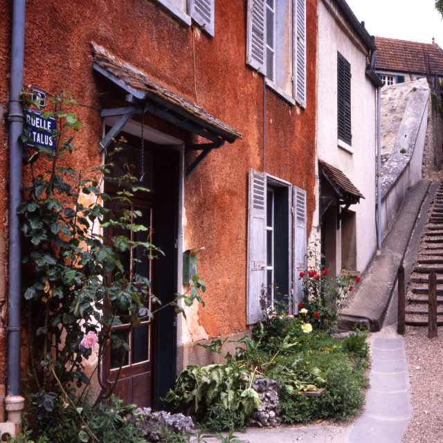 """""""Vetheuil - Steps and Cottages"""" stock image"""