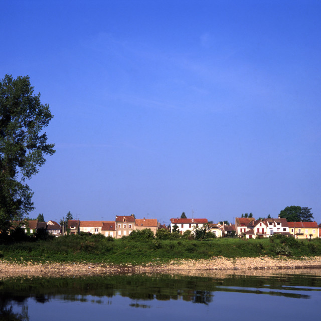 """""""Lavacourt from Vetheuil"""" stock image"""