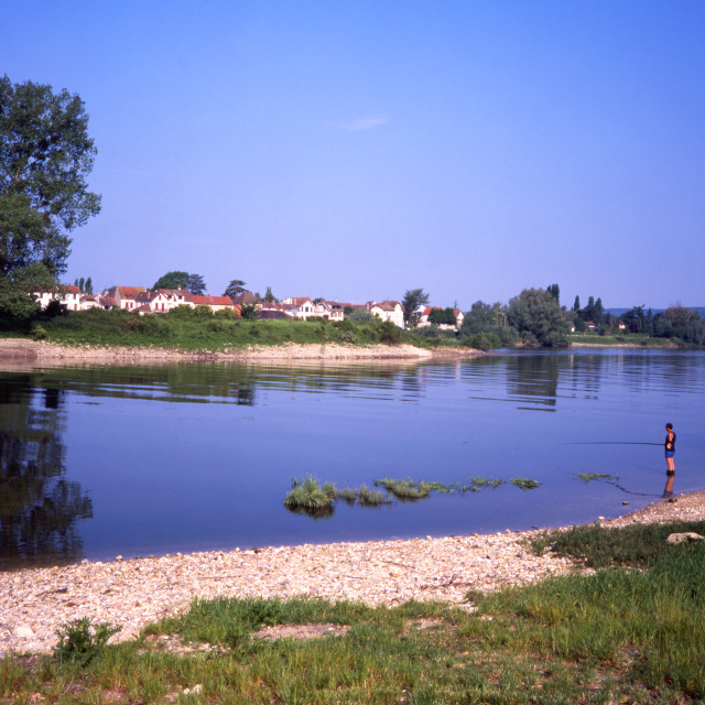 """""""Fishing at Vetheuil"""" stock image"""