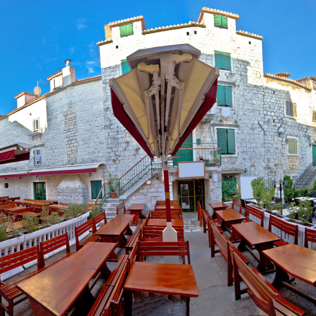 """Town of Trogir square panorama"" stock image"