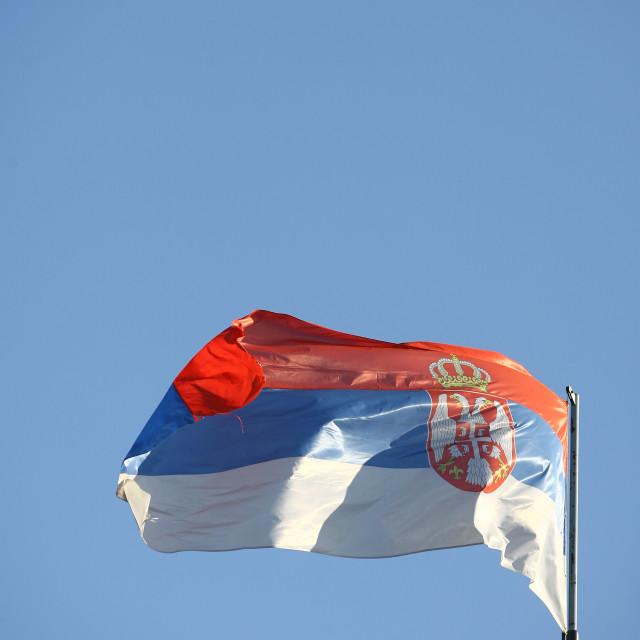 """Serbian flag waving in wind"" stock image"