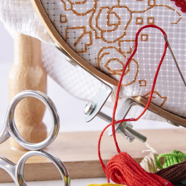 """""""Tools for embroidery on embroidery frame front view"""" stock image"""