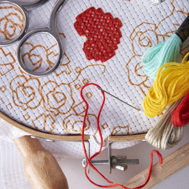 """""""Tools for embroidery on embroidery frame top view"""" stock image"""