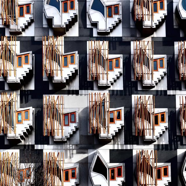 """Windows of the Scottish Parliament Building"" stock image"