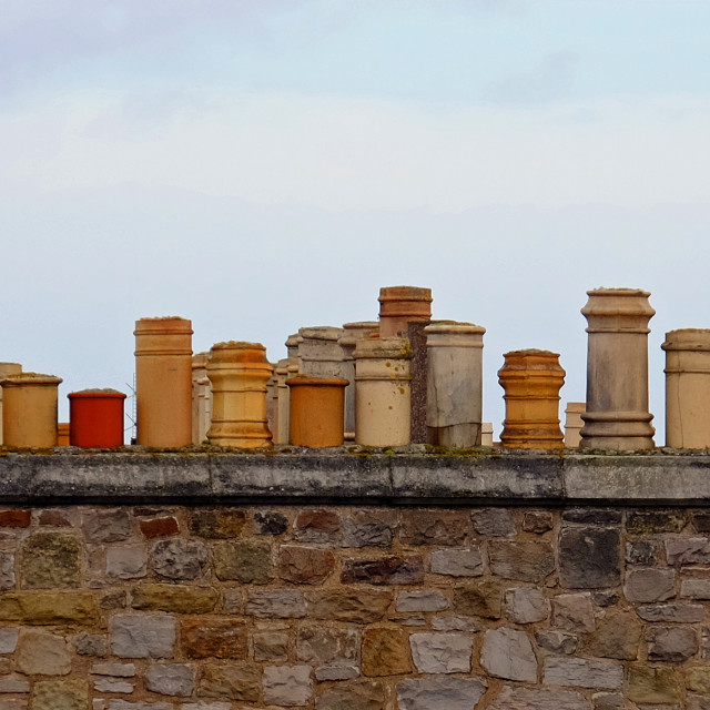 """Chimneys in Edinburgh"" stock image"