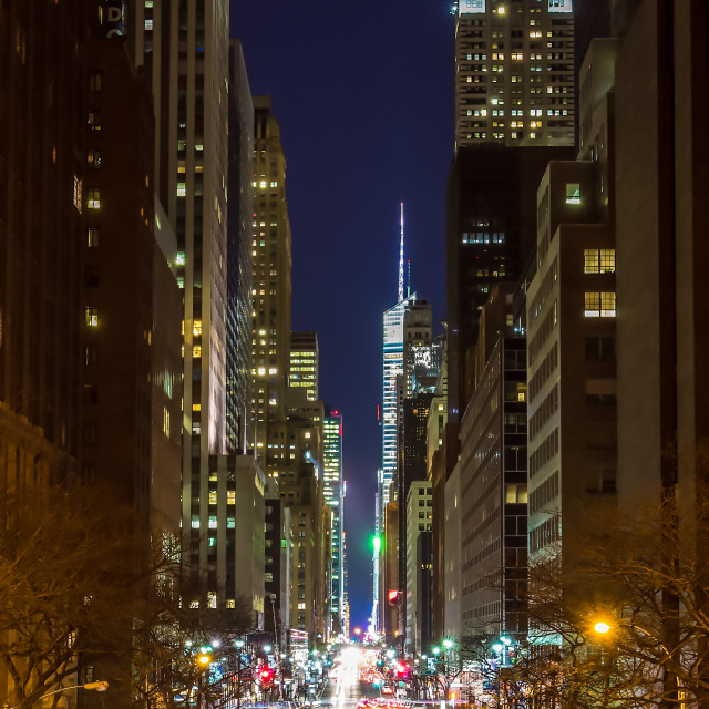 """New York city street at night"" stock image"