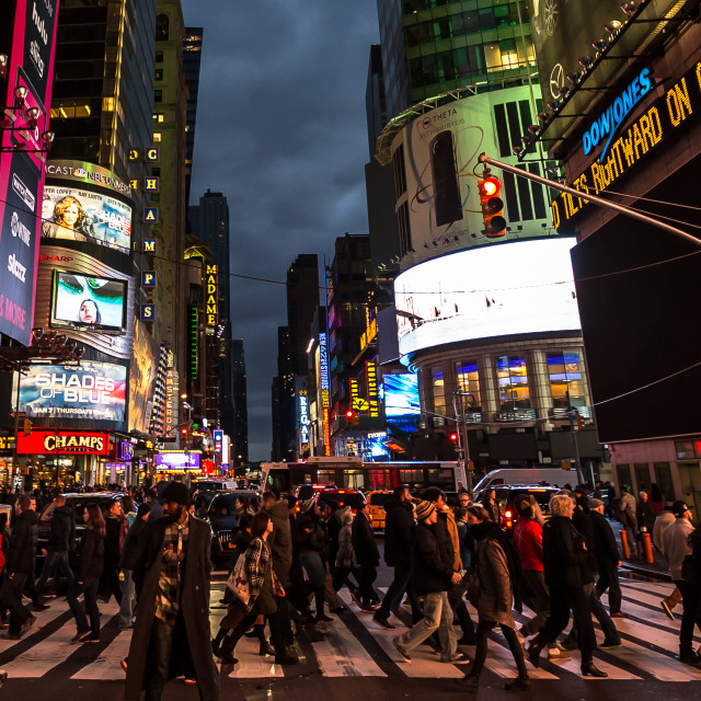 """Times Square pedestrian crossing"" stock image"