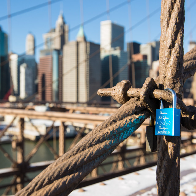 """Solitary Love-lock on Brooklyn Bridge"" stock image"