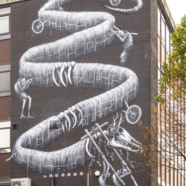 """""""Large mural, Cardiff, Wales"""" stock image"""