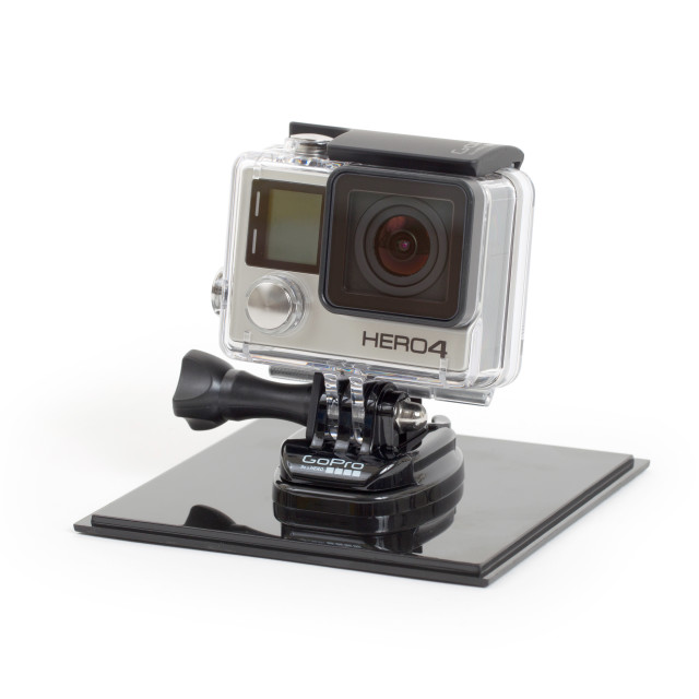 """Amsterdam, the Netherlands - June 30, 2015: GoPro Hero 4 Black Edition isolated on white background, GoPro is a brand of high-definition personal cameras, often used in extreme action video photography"" stock image"