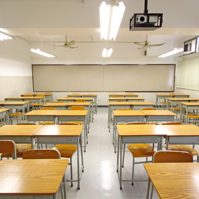 """Empty big classroom at school"" stock image"