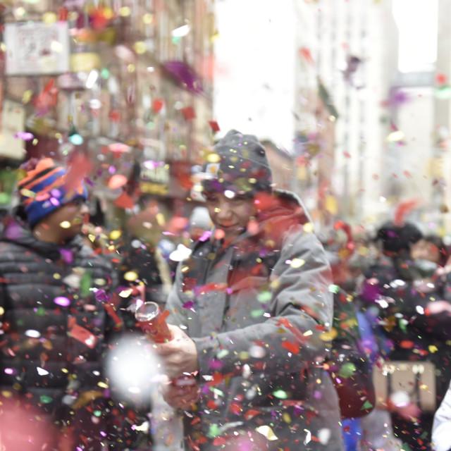 """""""Exploding Confetti Cannon"""" stock image"""